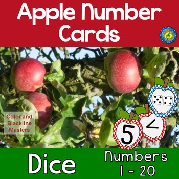 APPLE Math Number and Dice Cards for Matching, Adding, Mem