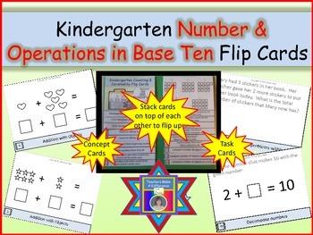 Number and Operations in Base Ten Kindergarten Flip Cards