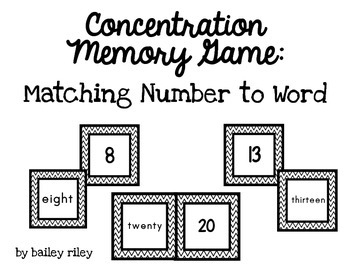Number and Word Form Concentration Matching Game