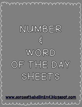 Number and Word of the Day FREEBIE!
