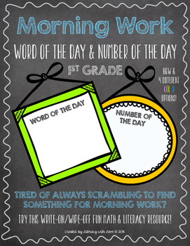 Number and Word of the Day Morning Work (1st Grade)