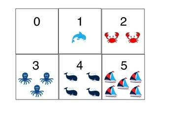 Number cards with Nautical Pictures (0-5)
