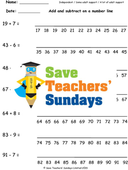 Number Line Addition and Subtraction Worksheets (4 levels