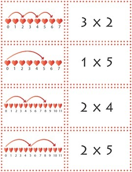 Multiplication in Pictures:  Matching Activity  Valentine'