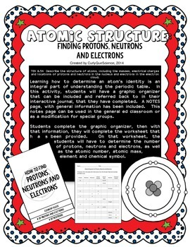 Number of Protons, Neutrons Electrons Graphic Organizer an