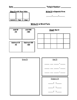 Number of the Day 2nd and 3rd Grade Worksheets & Wall Display