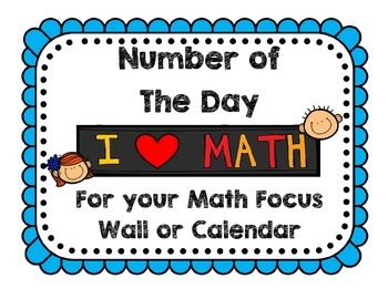 Number of the Day - A companion for your Math Focus Wall o