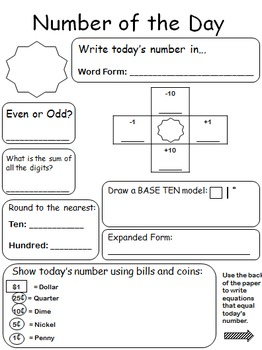Number of the Day - Editable