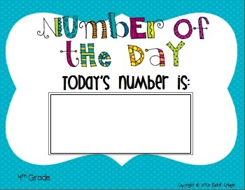 Number of the Day Fourth Grade Bulletin Board