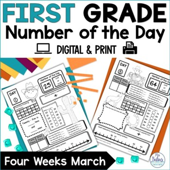 First Grade Math Number of the Day March Rodeo Theme
