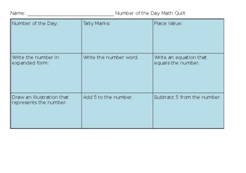 Number of the Day Math Quilt