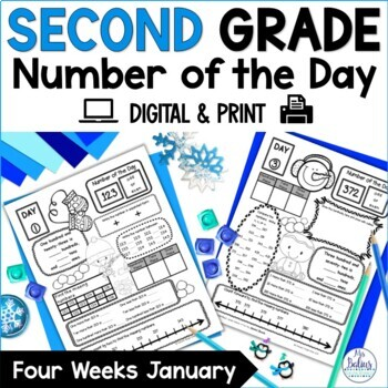 Winter Math Place Value Second Grade New Year Number of the Day