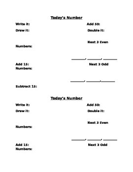 """""""Number of the Day"""" recording sheet"""