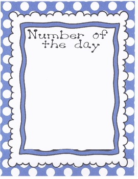Number of the Day with number cards 0 - 20 in Blue dots