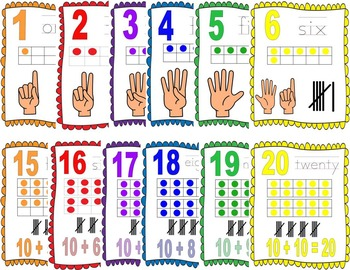 Number posters with ten frames, tally, and hands or additi
