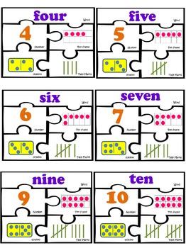 Number puzzles 1-20 kindergarten first grade math work sta