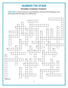 Number the Stars: Prereading Crossword--50 words! Use with