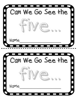 Number word FIVE sight word reader