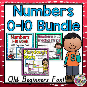Numbers 0-10 Bundle QLD Beginners Font: Worksheets, Poster