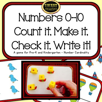 Numbers 0-10 Counting Game Math Station for Pre-K and Kind