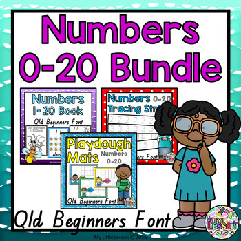 Numbers 0-20 Bundle QLD Beginners Font: Worksheets, Poster