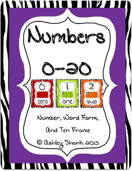 Numbers 0-20 Zebra Theme