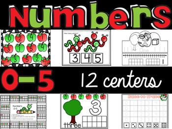 "Number Sense 0-5 : 12 math centers with ""I can"" statements"