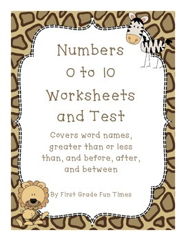 Numbers 0 to 10 Worksheets and Test