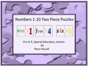 Number Match, Math Centers, Numbers Two Piece Puzzles 1-10