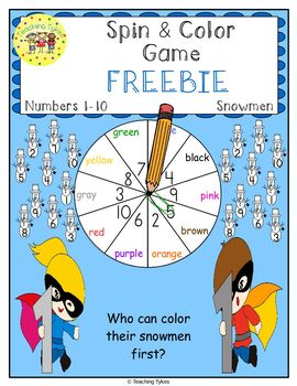 Numbers 1-10 Spin and Color Winter FREEBIE