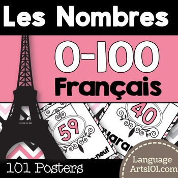 Numbers 1-100 French posters | Affiches des nombres 0-100