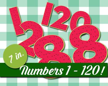 "Numbers 1-120 - 7"" High - 300 DPI - Watermelon Pattern - C"