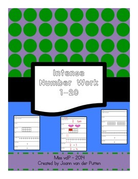 Number line worksheet for Numbers 1-20