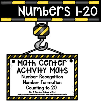 Numbers 1-20 (Construction Center Activity Mats)