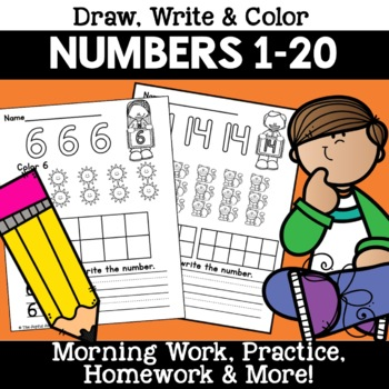 Numbers 1-20 Count Color Write Morning Work Worksheet Pages