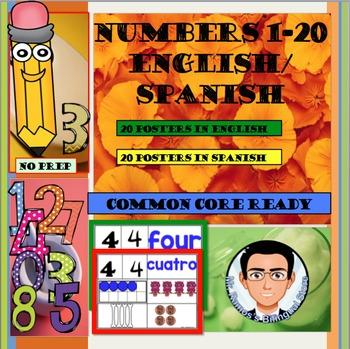Numbers 1-20 English/Spanish