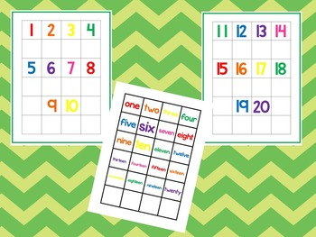 Numbers 1-20 Matching Work Mats.  Printable Preschool Curr