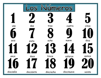 Numeros in Spanish - Numbers 1-20 Study Sheet