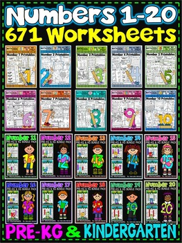Number Worksheets (1-20)-MATH WORKSHEETS (PRE-KG and KG )