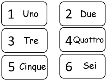 Numbers 1-20 in Italian Flash Cards. Preschool math and fo