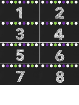 Numbers 1-30 Black, Green & Purple