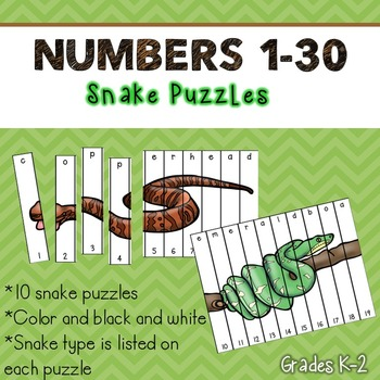 Numbers 1-30 Puzzles (Snakes)