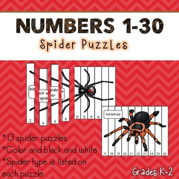Numbers 1-30 Puzzles (Spiders)