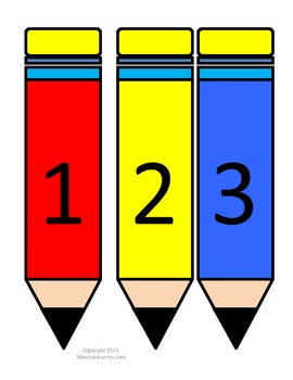 Numbers 1-30 on colorful pencils