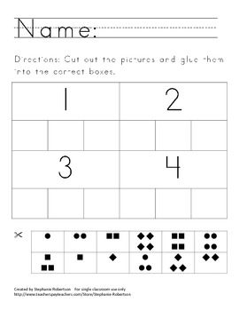 Numbers 1-5 Matching Worksheet