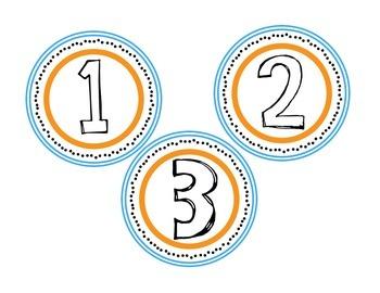 Numbers 1-9 Orange & Blue Circle Labels/Badges