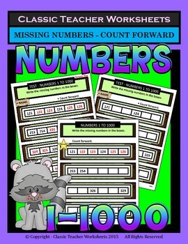 Numbers 1 to 1000-Write the Missing Numbers-Count Forward-