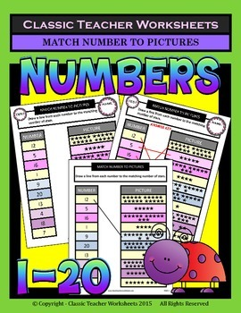 Numbers 1 to 20 - Match Numbers to Pictures - Kindergarten
