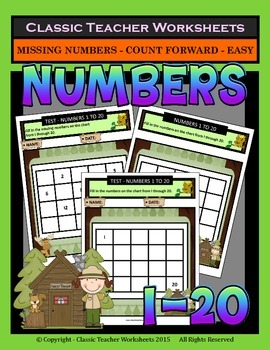 Numbers 1 to 20 - Missing Numbers-Count Forward -Grades 1-