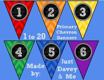 Numbers 1 to 20 Primary Chevron and Chalkboard Banners for